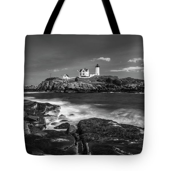 Maine Cape Neddick Lighthouse In Bw Tote Bag