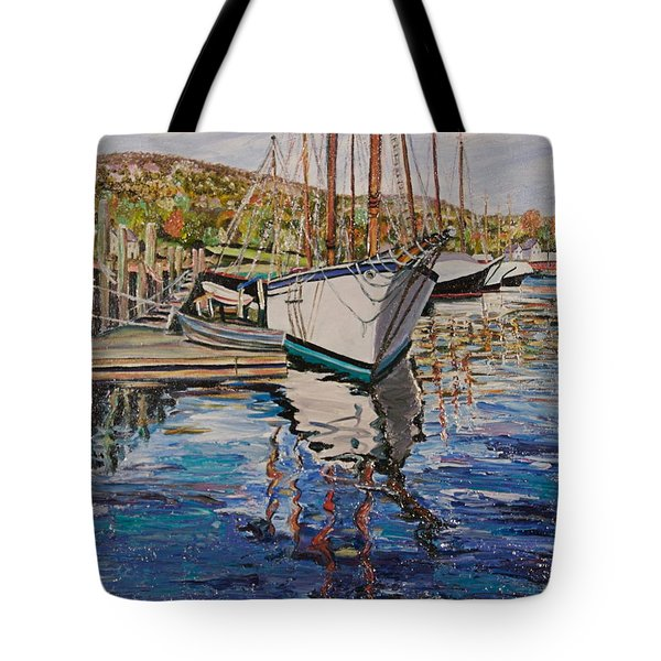 Maine Coast Boat Reflections Tote Bag by Richard Nowak