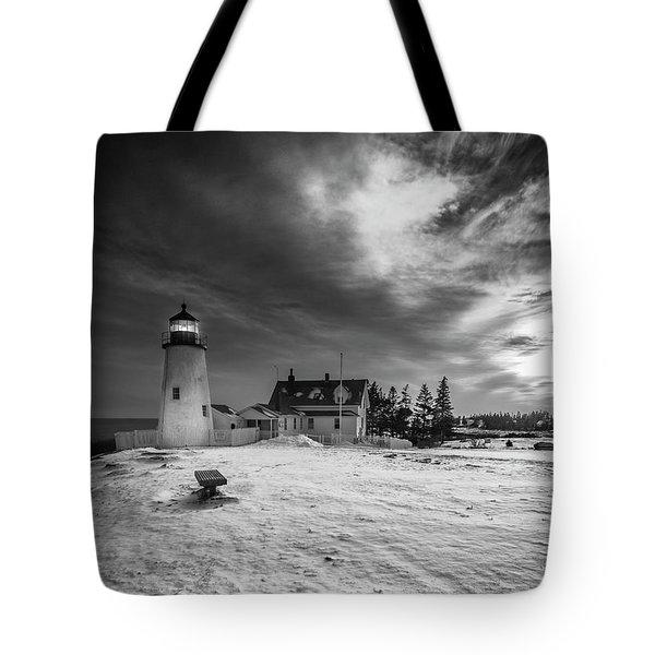 Maine Coastal Storm Over Pemaquid Lighthouse Tote Bag