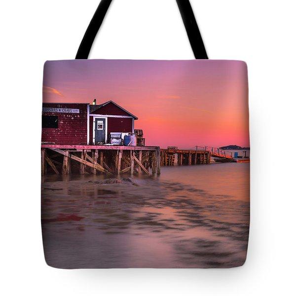 Maine Coastal Sunset At Dicks Lobsters - Crabs Shack Tote Bag
