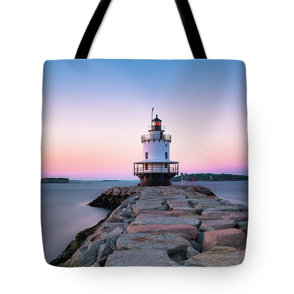 Maine Coastal Sunset Over The Spring Breakwater Lighthouse Tote Bag