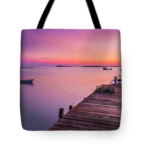 Tote Bag featuring the photograph Maine Cooks Corner Lobster Shack At Sunset by Ranjay Mitra