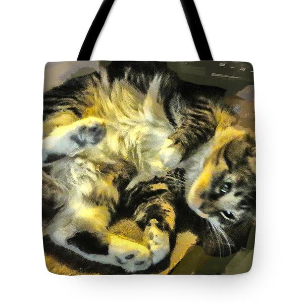 Tote Bag featuring the photograph Maine Coon Cat At Play by Constantine Gregory