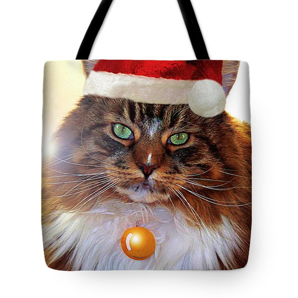 Tote Bag featuring the photograph Maine Coon Xmas by Roger Bester