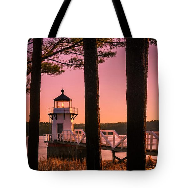 Tote Bag featuring the photograph Maine Doubling Point Lighthouse At Sunset Panorama by Ranjay Mitra