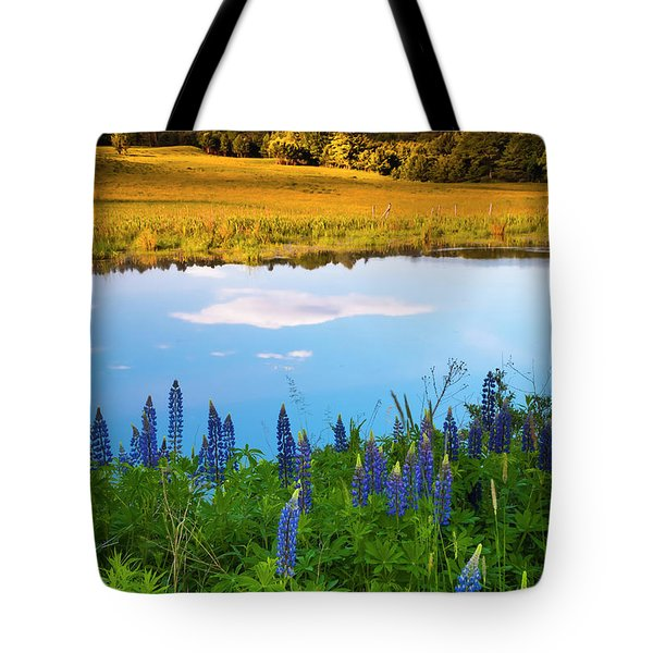 Tote Bag featuring the photograph Maine Field Of Lupines by Ranjay Mitra