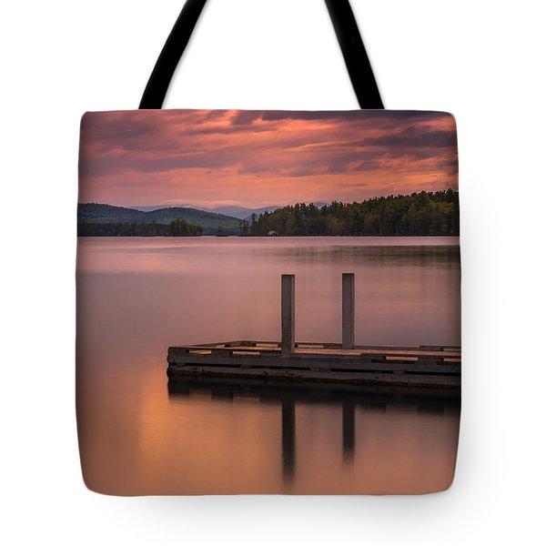 Maine Highland Lake Boat Ramp At Sunset Tote Bag