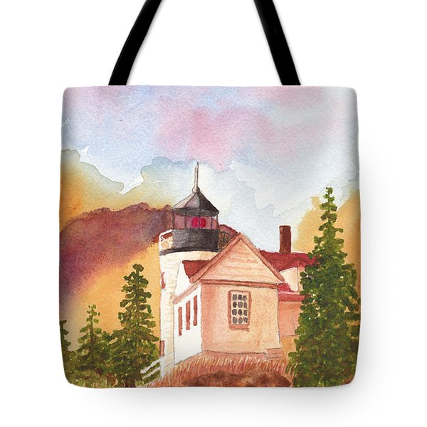 Maine Lighthouse In Morning Light Tote Bag