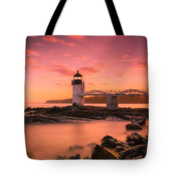 Tote Bag featuring the photograph Maine Lighthouse Marshall Point At Sunset by Ranjay Mitra