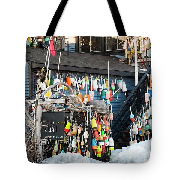 Tote Bag featuring the photograph Maine Lobster Shack In Winter by Ranjay Mitra