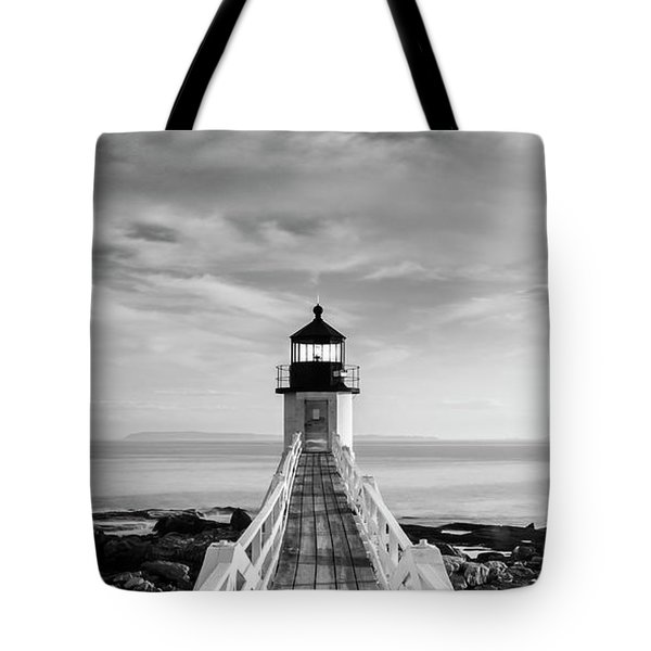 Tote Bag featuring the photograph Maine Marshall Point Lighthouse Vertical Panorama In Black And White by Ranjay Mitra