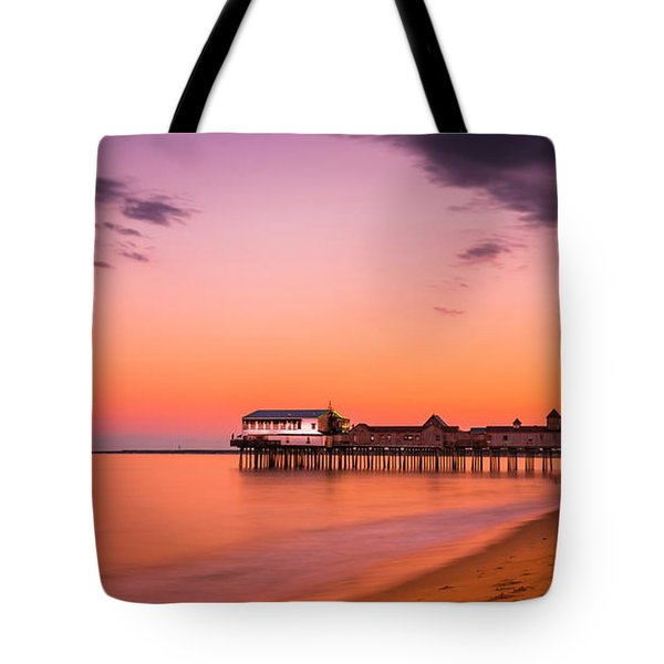 Maine Old Orchard Beach Pier At Sunset Tote Bag