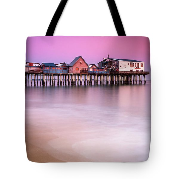 Maine Old Orchard Beach Pier Sunset  Tote Bag