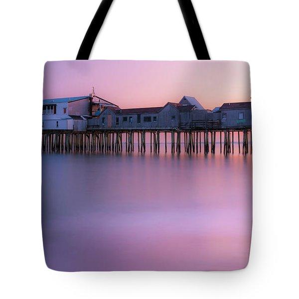 Maine Oob Pier At Sunset Panorama Tote Bag