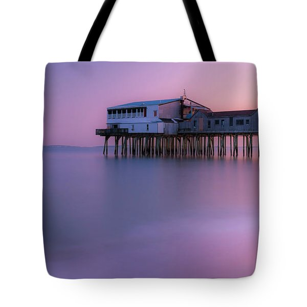 Maine Oob Pier At Sunset Panorama Tote Bag