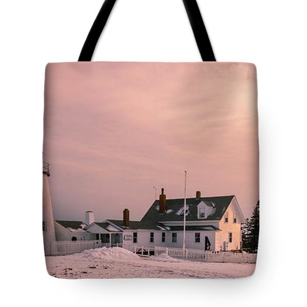Maine Pemaquid Lighthouse After Winter Snow Storm Tote Bag