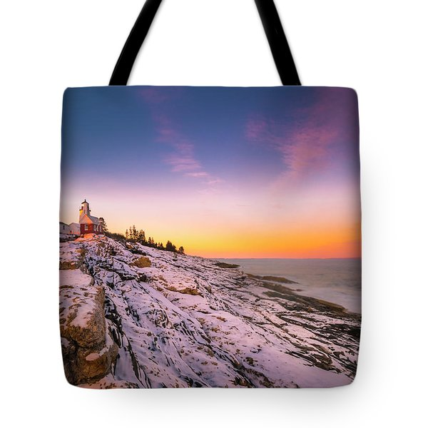 Tote Bag featuring the photograph Maine Pemaquid Lighthouse In Winter Snow by Ranjay Mitra