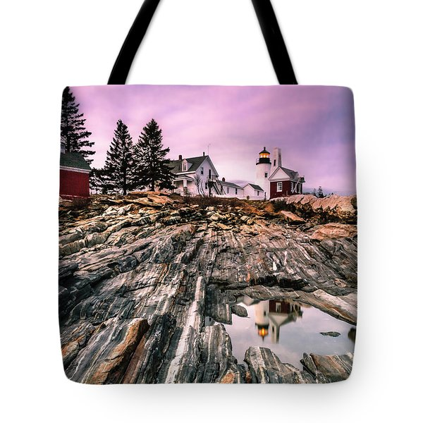 Maine Pemaquid Lighthouse Reflection In Summer Tote Bag