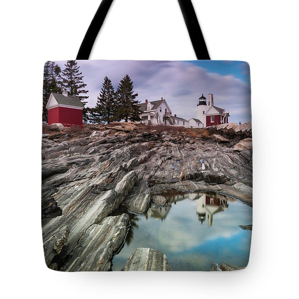 Maine Pemaquid Lighthouse Reflection Tote Bag