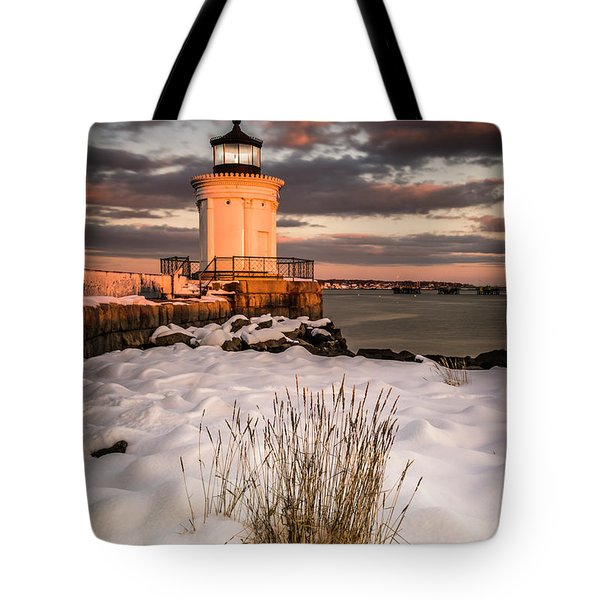 Tote Bag featuring the photograph Maine Portland Bug Light Lighthouse Sunset  by Ranjay Mitra