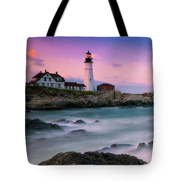 Maine Portland Headlight Lighthouse At Sunset Panorama Tote Bag