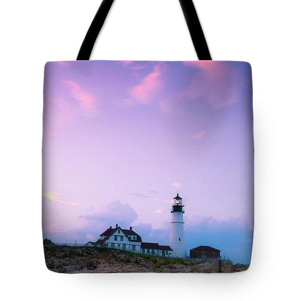 Maine Portland Headlight Lighthouse In Blue Hour Tote Bag