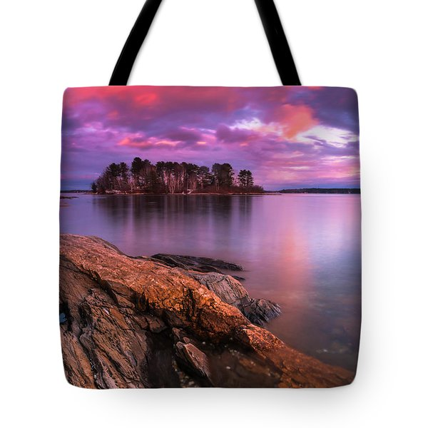 Maine Pound Of Tea Island Sunset At Freeport Tote Bag