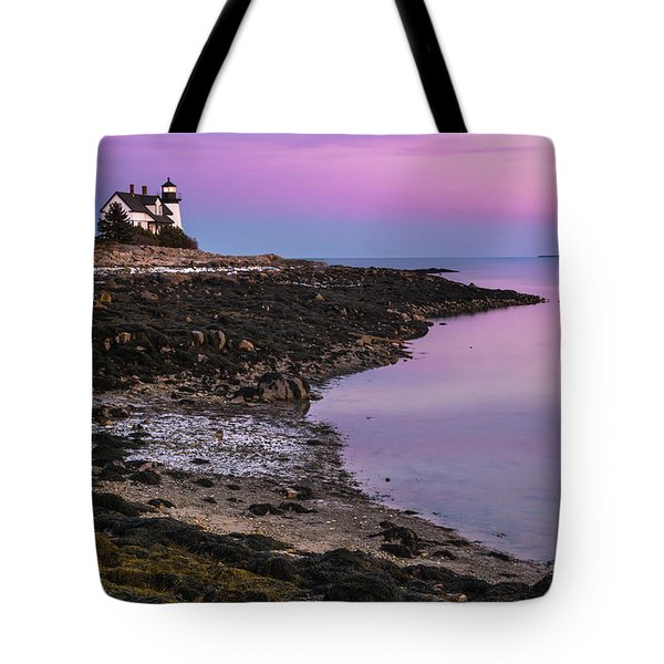 Tote Bag featuring the photograph Maine Prospect Harbor Lighthouse Sunset In Winter by Ranjay Mitra