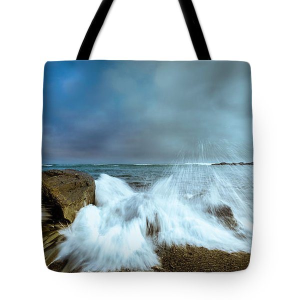 Maine Rocky Coast During Storm At Two Lights Tote Bag