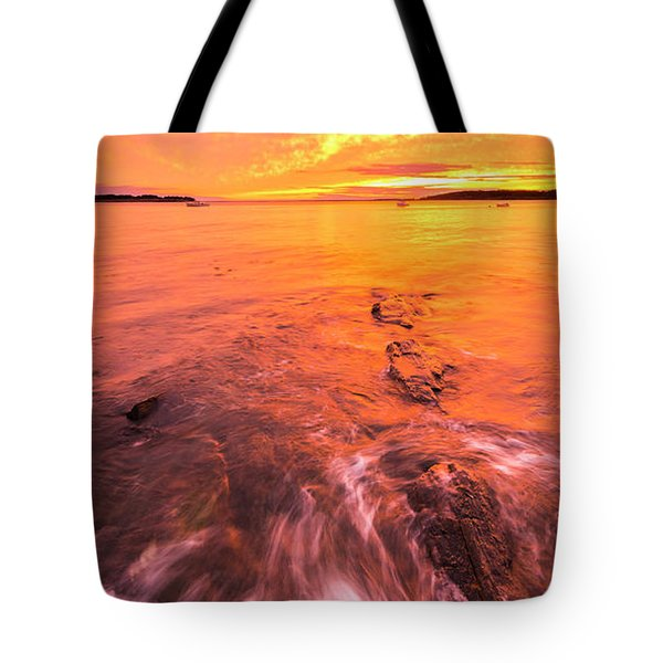 Maine Rocky Coastal Sunset At Kettle Cove Tote Bag