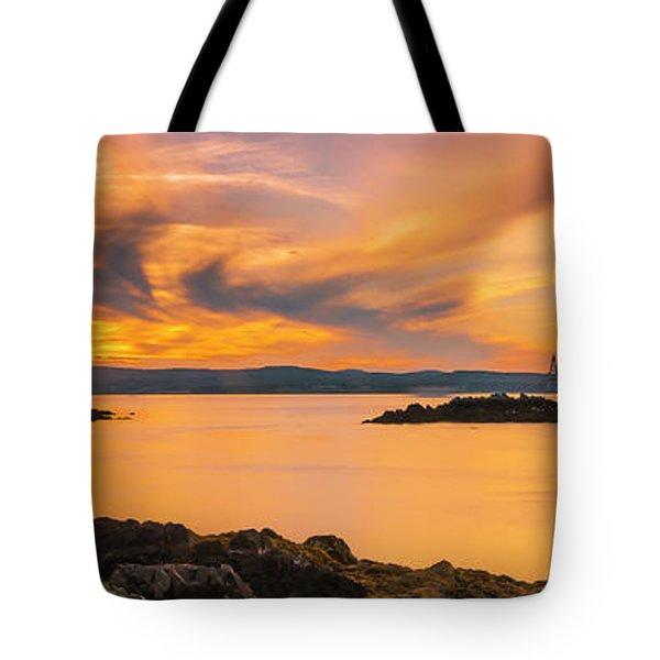 Maine Rocky Coastal Sunset In Penobscot Bay Panorama Tote Bag