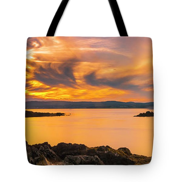 Maine Rocky Coastal Sunset In Penobscot Bay Panorama Tote Bag