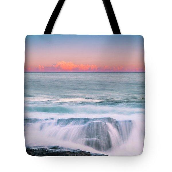 Maine Rocky Coastal Sunset Panorama Tote Bag