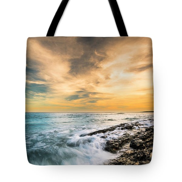 Tote Bag featuring the photograph Maine Rocky Coastal Sunset by Ranjay Mitra