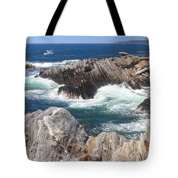 Maine Rocky Shore Laverna Preserve Tote Bag