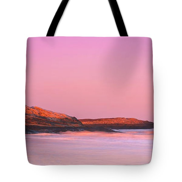 Maine Sheepscot River Bay With Cuckolds Lighthouse Sunset Panorama Tote Bag