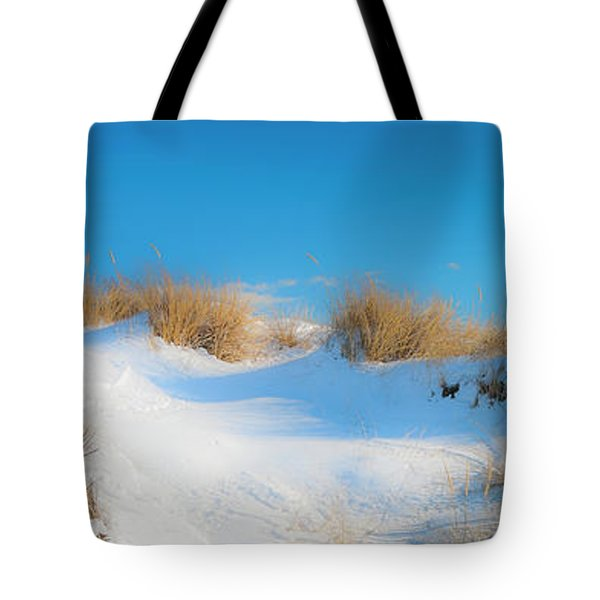 Maine Snow Dunes On Coast In Winter Panorama Tote Bag