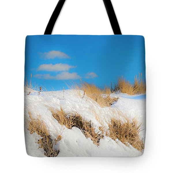 Tote Bag featuring the photograph Maine Snow Dunes On Coast In Winter Panorama by Ranjay Mitra
