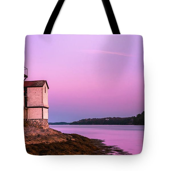 Maine Squirrel Point Lighthouse On Kennebec River Sunset Panorama Tote Bag