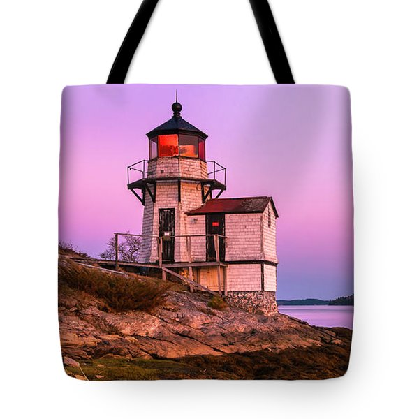 Tote Bag featuring the photograph Maine Squirrel Point Lighthouse On Kennebec River Sunset Panorama by Ranjay Mitra
