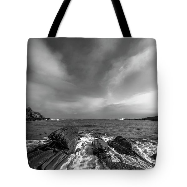 Maine Storm Clouds And Crashing Waves On Rocky Coast Tote Bag