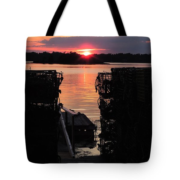 Maine Sunset And Traps Tote Bag