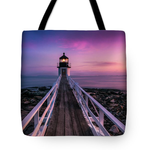 Maine Sunset At Marshall Point Lighthouse Tote Bag