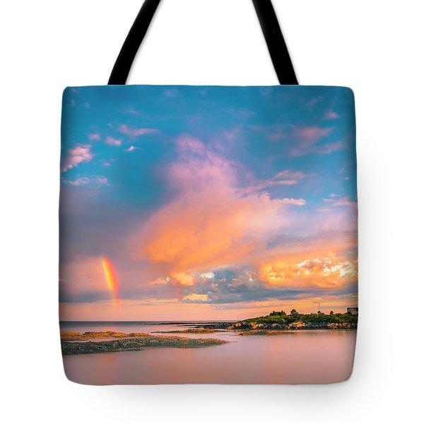 Maine Sunset - Rainbow Over Lands End Coast Tote Bag