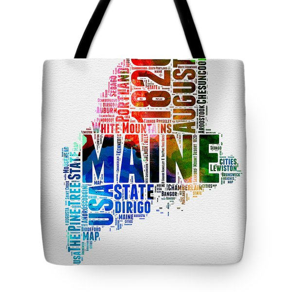 Maine Watercolor Word Cloud  Tote Bag