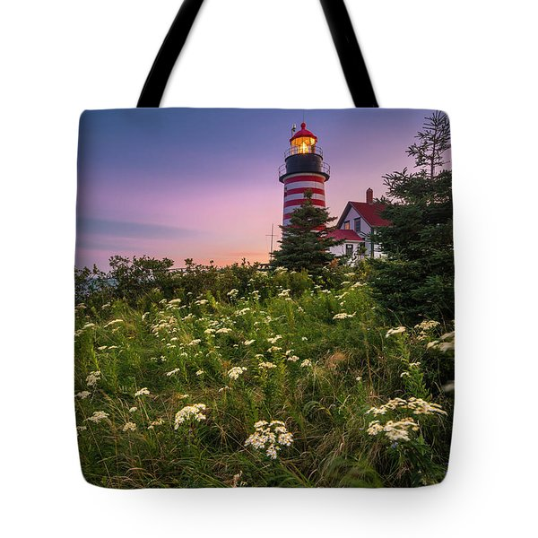 Maine West Quoddy Head Lighthouse Sunset Tote Bag