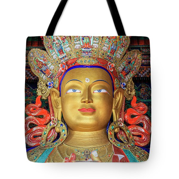 Tote Bag featuring the photograph Maitreya Buddha Statue by Alexey Stiop