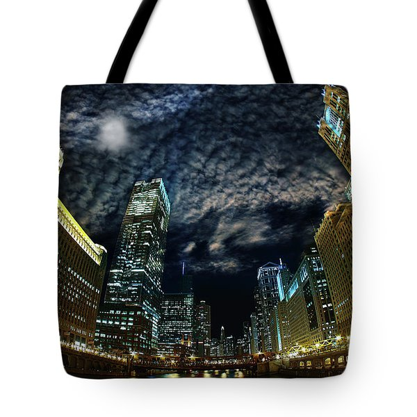 Majestic Chicago - Windy City Riverfront At Night Tote Bag