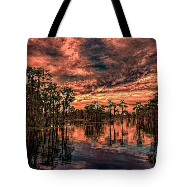 Majestic Cypress Paradise Sunset Tote Bag