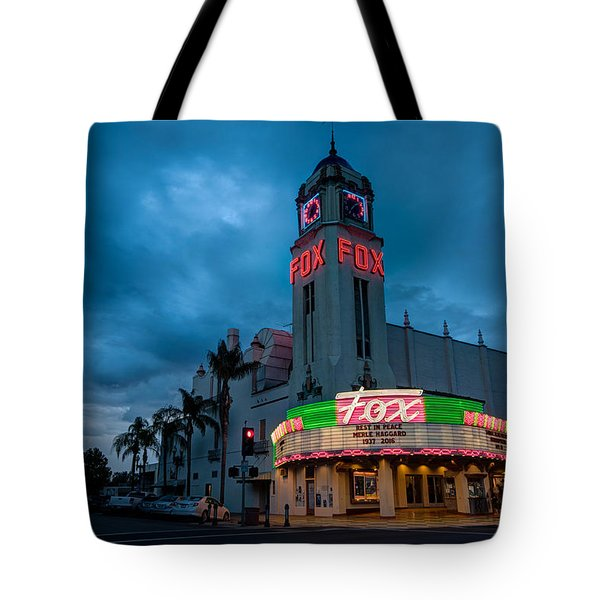 Majestic Fox Theater Sunset Stormy Night Tote Bag